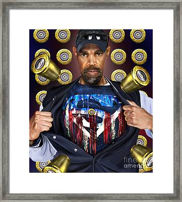 Catching Bullets They Think We Supermen Because Still We Rise Framed Print by Reggie Duffie