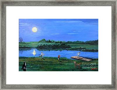 Catching Fireflies By Moonlight Framed Print