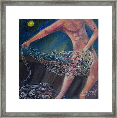 Catching Fish Framed Print by Danarta Gondrong