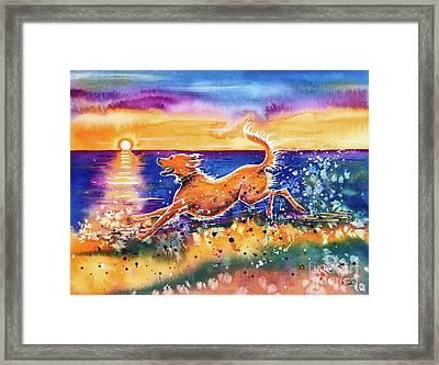 Framed Print featuring the painting Catching The Sun by Zaira Dzhaubaeva