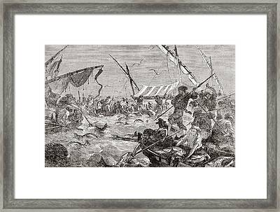Catching Tuna Fish Using The Almadraba Framed Print by Vintage Design Pics