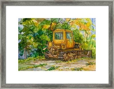 Caterpillar On Backyard Framed Print by Natoly Art