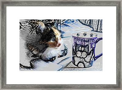 Catfinated Kitty Framed Print
