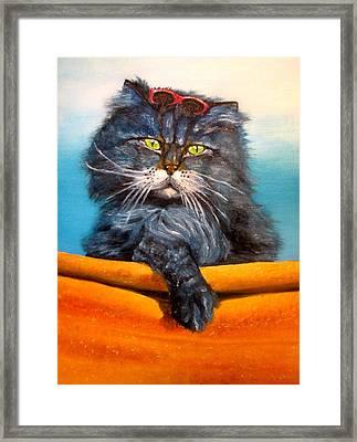 Cat.go To Swim.original Oil Painting Framed Print by Natalja Picugina