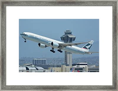 Cathay Pacific Boeing 777-367er B-kph Los Angeles International Airport May 3 2016 Framed Print by Brian Lockett