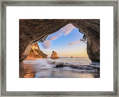 Cathedral Cove At Dawn Framed Print by Colin and Linda McKie