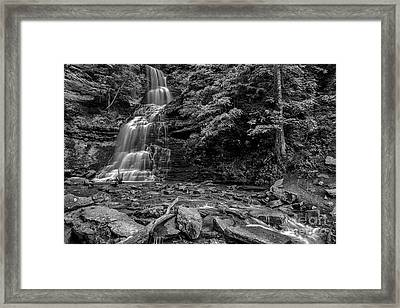 Cathedral Falls Black And White Framed Print by Thomas R Fletcher