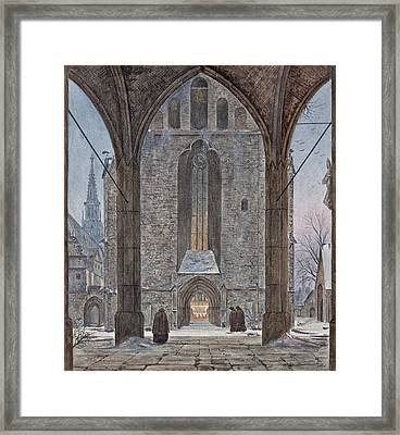 Cathedral In Winter Framed Print by Ernst Ferdinand Oehme