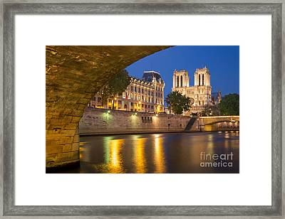 Cathedral Notre Dame And River Seine - Paris Framed Print by Brian Jannsen