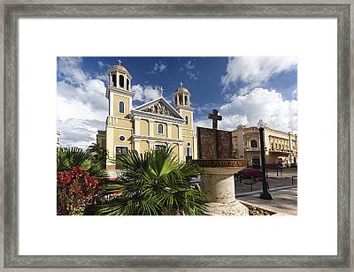 Cathedral Of Mayaguez Framed Print by George Oze