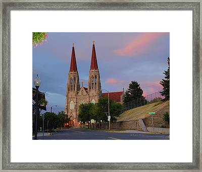 Cathedral Of Saint Helena At Sunset Framed Print