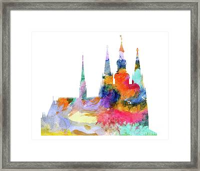 Cathedral Of Saint Vitus In The Prague Castle Watercolor Art Framed Print