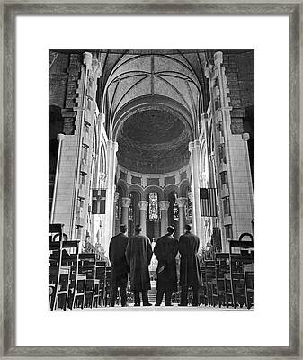 Cathedral Of St. John In Nyc Framed Print by Underwood Archives