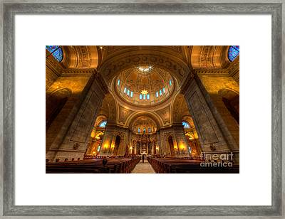 Cathedral Of St Paul Wide Interior St Paul Minnesota Framed Print by Wayne Moran