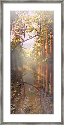 Framed Print featuring the painting Cathedral Redwoods by Robby Donaghey