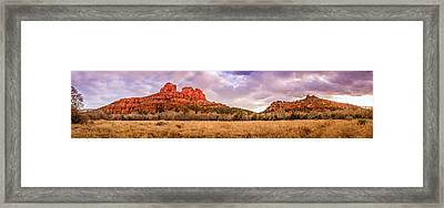 Cathedral Rock Panorama Framed Print by Alexey Stiop