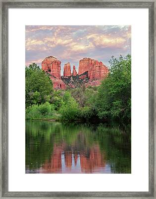 Cathedral Rock Reflected In Oak Creek Framed Print by Loree Johnson