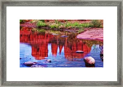 Cathedral Rock Reflection Painterly Framed Print by Bob Coates