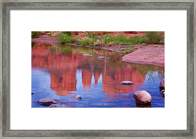 Cathedral Rock Reflection Pastel Framed Print by Bob Coates