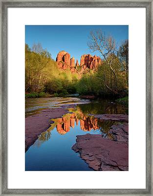 Cathedral Rock Reflection Vertical Framed Print by Michael Blanchette
