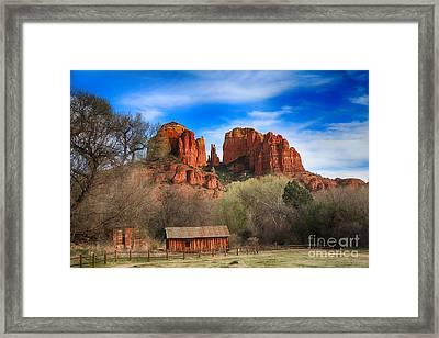 Cathedral Rock And Barn Framed Print by Teresa Zieba