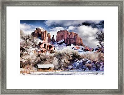 Cathedral Rock White Blanket - Digital Art Framed Print