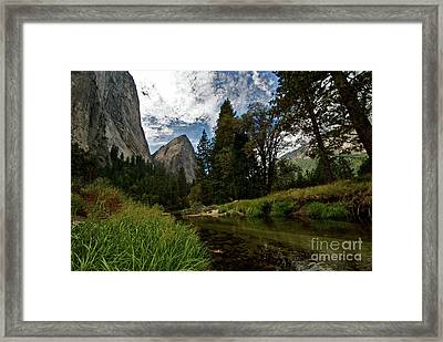 Cathedral Rocks Along The Merced Framed Print