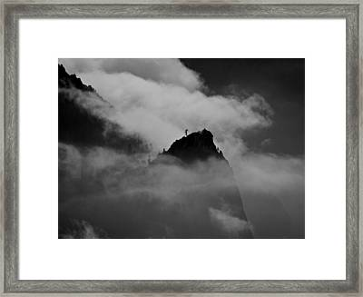 Cathedral Spire In Mist Framed Print by Chris Brewington Photography LLC