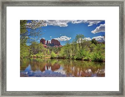 Catherdral Rock And Reflection- Sedona Framed Print by Jennifer Rondinelli Reilly - Fine Art Photography