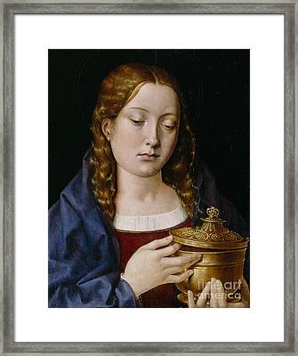 Catherine Of Aragon As The Magdalene Framed Print by Michiel Sittow