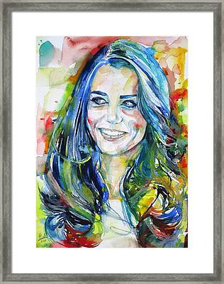 Catherine,duchess Of Cambridge - Watercolor Portrait.4 Framed Print