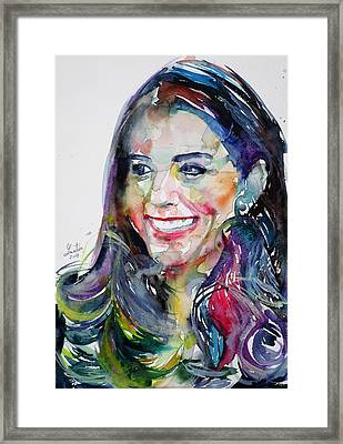 Catherine,duchess Of Cambridge - Watercolor Portrait.5 Framed Print