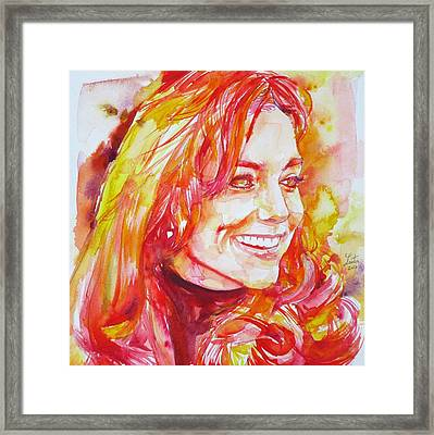 Catherine,duchess Of Cambridge - Watercolor Portrait.6 Framed Print