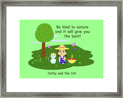 Cathy And The Cat Are Kind To Nature Framed Print