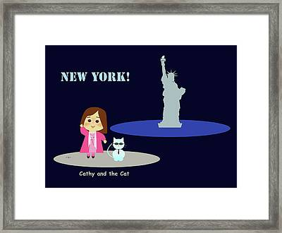 Cathy And The Cat In New York Framed Print