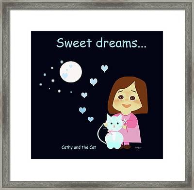 Cathy And The Cat Sweet Dreams Framed Print