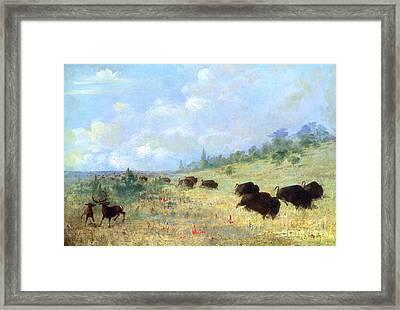 Catlin: Elk & Buffalo Framed Print by Granger