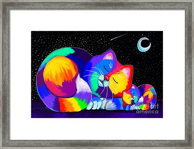 Framed Print featuring the drawing Catnaps For Two by Nick Gustafson