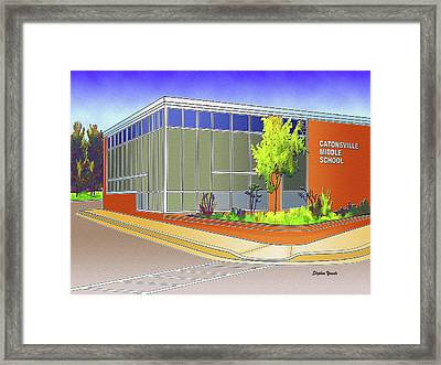 Catonsville Middle School Framed Print by Stephen Younts