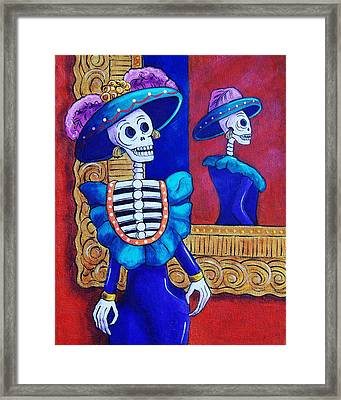 Catrina In The Mirror Framed Print by Candy Mayer
