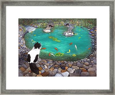 Cats And Koi Framed Print