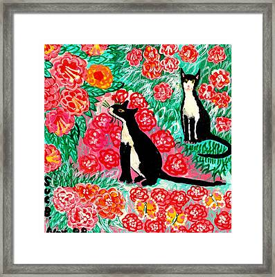 Cats And Roses Framed Print by Sushila Burgess