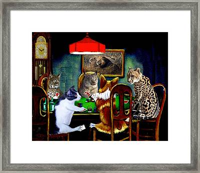 Cats Are Wild Poker Framed Print by Ron Chambers