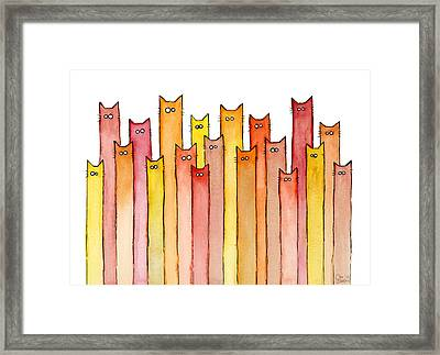 Cats Autumn Colors Framed Print by Olga Shvartsur