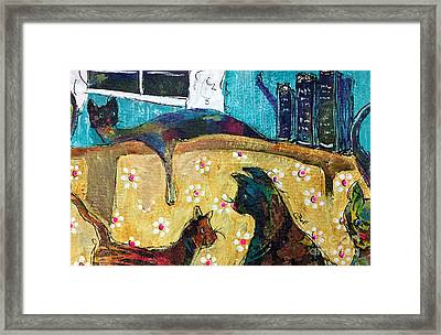 Framed Print featuring the painting Cats Hangin' Out  by Claire Bull