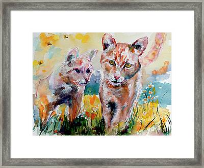 Framed Print featuring the painting Cats In The Garden Happy Days by Ginette Callaway