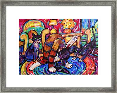Framed Print featuring the painting Cats In The Lounge by Dianne  Connolly