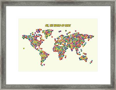 Cats Map Of The World For Kids Framed Print by Michael Schmeling