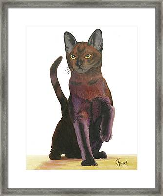 Framed Print featuring the painting Cats Meow by Ferrel Cordle