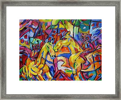 Cats On Horse Intensity Framed Print
